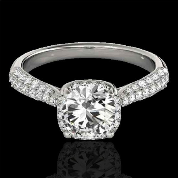 1.50 ctw Certified Diamond Solitaire Halo Ring 10k White Gold - REF-204G5W