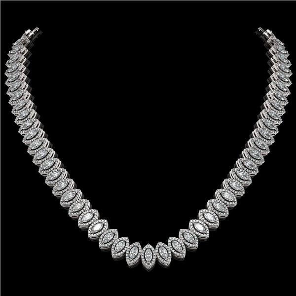 26.11 ctw Marquise Cut Diamond Micro Pave Necklace 18K White Gold - REF-2240R2K