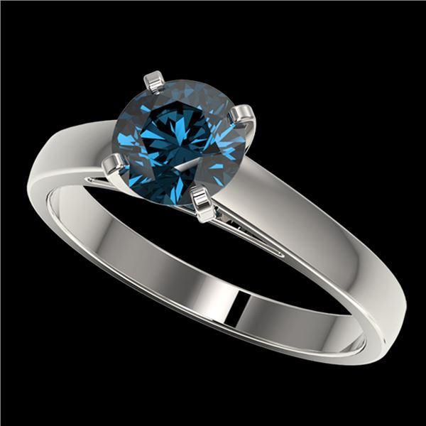 1.28 ctw Certified Intense Blue Diamond Engagment Ring 10k White Gold - REF-120M3G