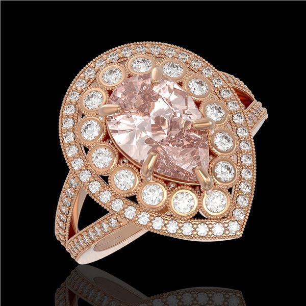 4.22 ctw Certified Morganite & Diamond Victorian Ring 14K Rose Gold - REF-195W6H