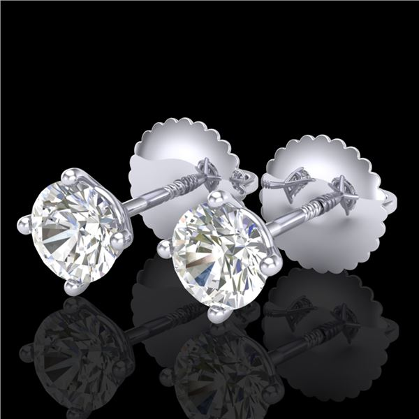 0.65 ctw VS/SI Diamond Solitaire Art Deco Stud Earrings 18k White Gold - REF-60Y3X