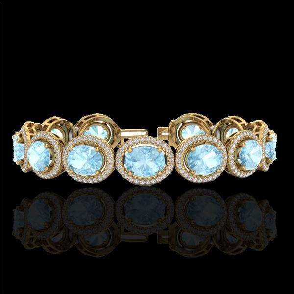 23 ctw Aquamarine & Micro Pave VS/SI Diamond Bracelet 10k Yellow Gold - REF-436M4G