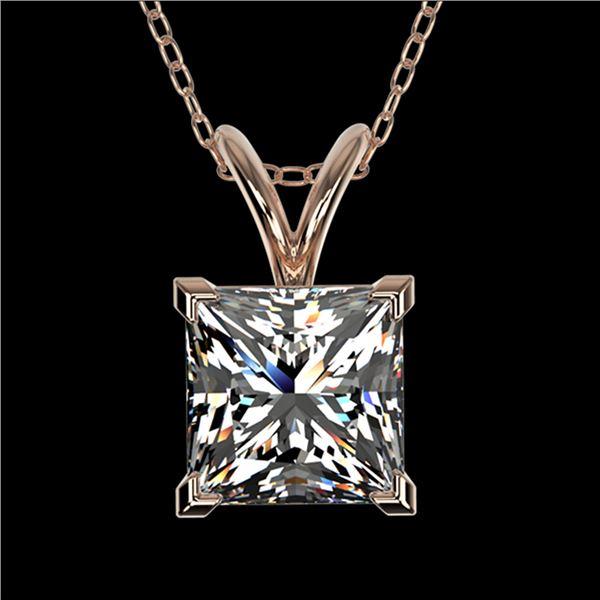 1.25 ctw Certified VS/SI Quality Princess Diamond Necklace 10k Rose Gold - REF-325G2W