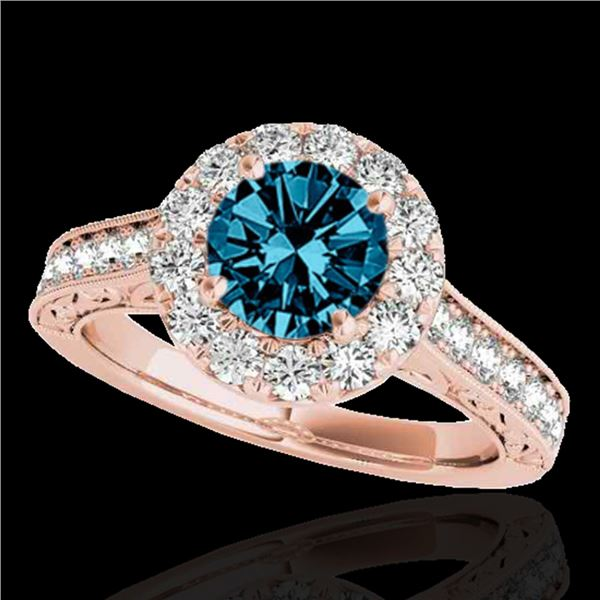1.7 ctw SI Certified Fancy Blue Diamond Solitaire Halo Ring 10k Rose Gold - REF-177Y3X