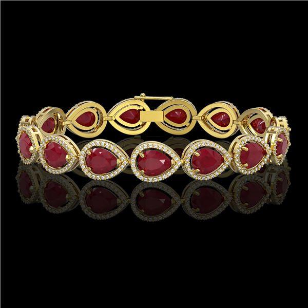 30.06 ctw Ruby & Diamond Micro Pave Halo Bracelet 10k Yellow Gold - REF-368R5K