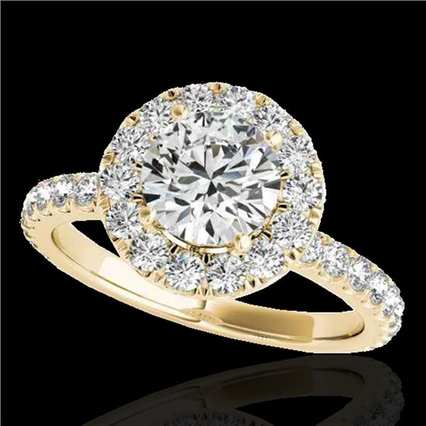1.75 ctw Certified Diamond Solitaire Halo Ring 10k Yellow Gold - REF-204N5F