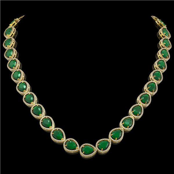64.01 ctw Emerald & Diamond Micro Pave Halo Necklace 10k Yellow Gold - REF-854M5G