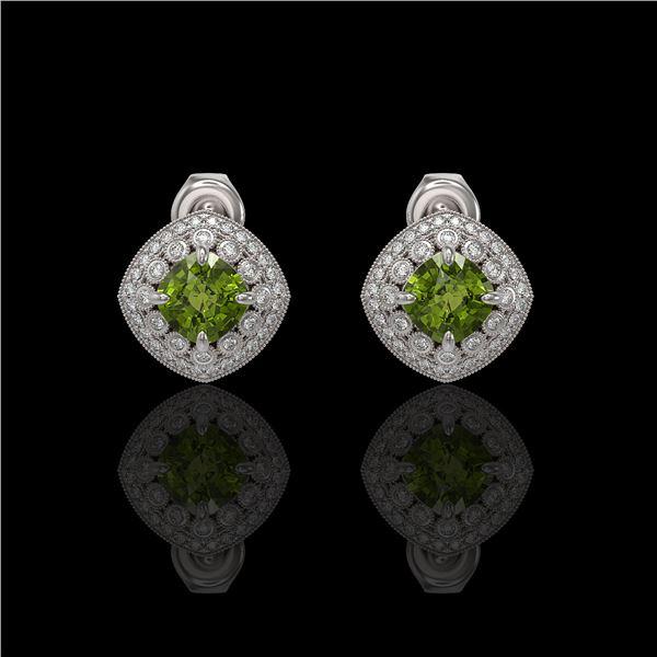 4.39 ctw Tourmaline & Diamond Victorian Earrings 14K White Gold - REF-131X8A