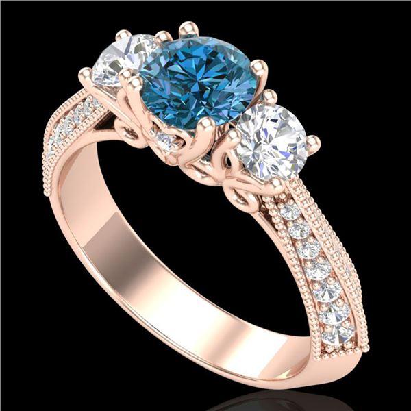 1.81 ctw Intense Blue Diamond Art Deco 3 Stone Ring 18k Rose Gold - REF-236X4A