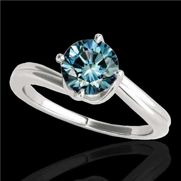 1 ctw SI Certified Fancy Blue Diamond Bypass Solitaire Ring 10k White Gold - REF-105G8W