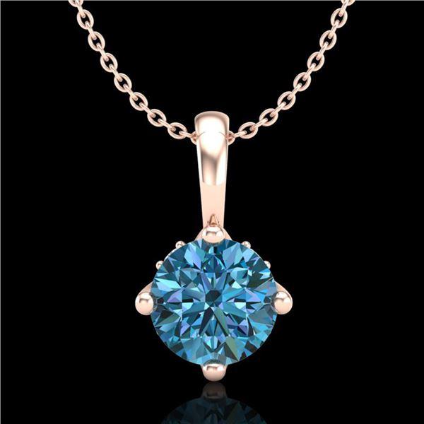 0.82 ctw Fancy Intense Blue Diamond Art Deco Necklace 18k Rose Gold - REF-103K6Y