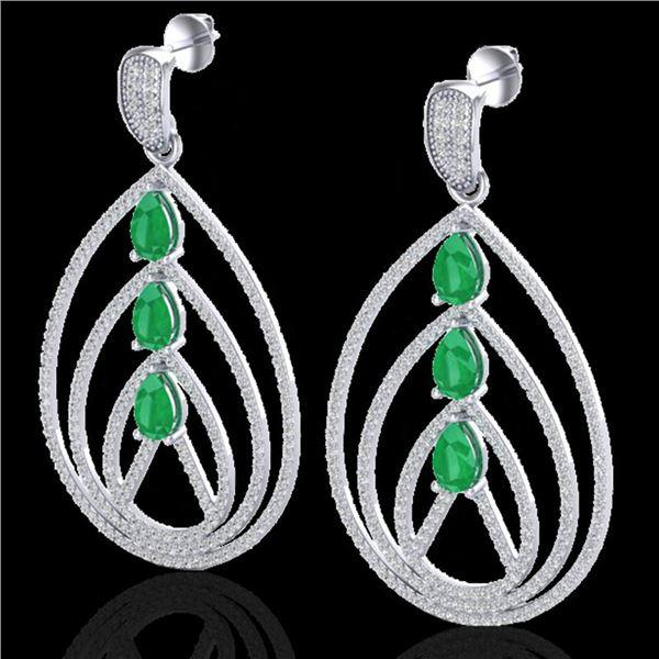 4 ctw Emerald & Micro Pave VS/SI Diamond Earrings 18k White Gold - REF-307H3R