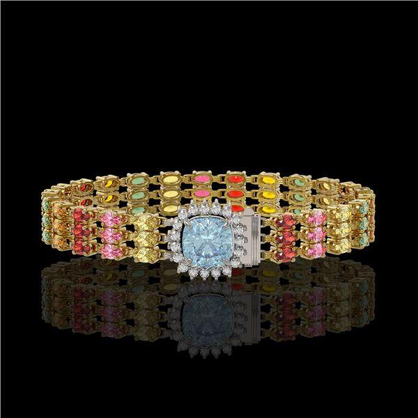 33.04 ctw Sapphire & Diamond Bracelet 14K Yellow Gold - REF-340A5N