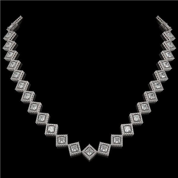 26.88 ctw Princess Cut Diamond Micro Pave Necklace 18K White Gold - REF-3684K3Y