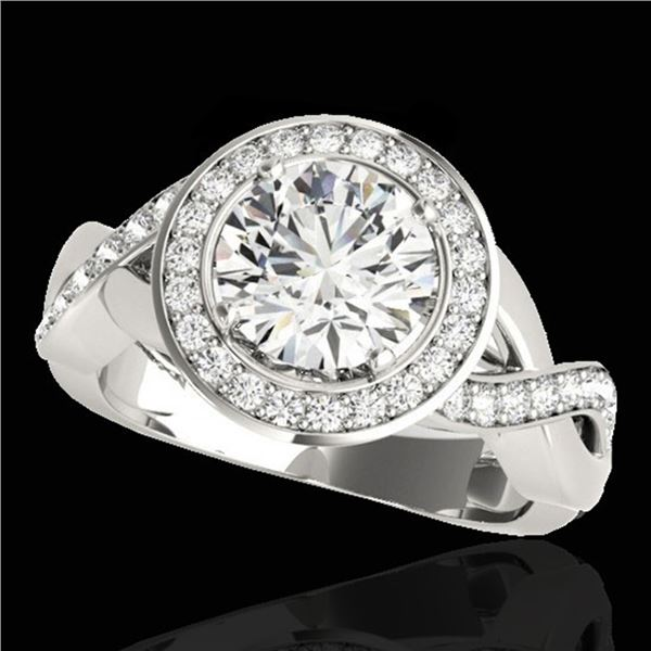 2 ctw Certified Diamond Solitaire Halo Ring 10k White Gold - REF-259F3M
