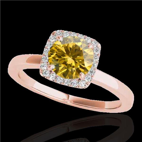 1.15 ctw Certified SI/I Fancy Intense Yellow Diamond Ring 10k Rose Gold - REF-190M9G