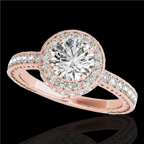 1.51 ctw Certified Diamond Solitaire Halo Ring 10k Rose Gold - REF-197K8Y