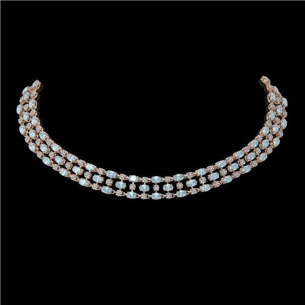 38.99 ctw Sky Topaz & Diamond Necklace 10K Rose Gold - REF-427Y3X