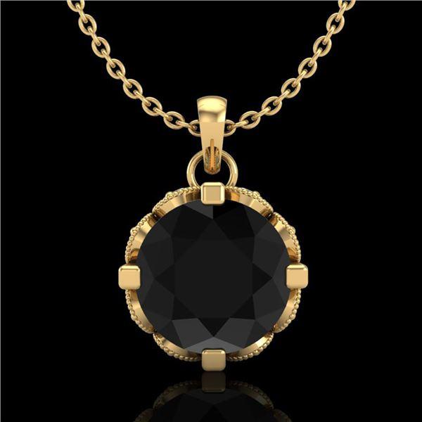 1.5 ctw Fancy Black Diamond Art Deco Stud Necklace 18k Yellow Gold - REF-101A8N