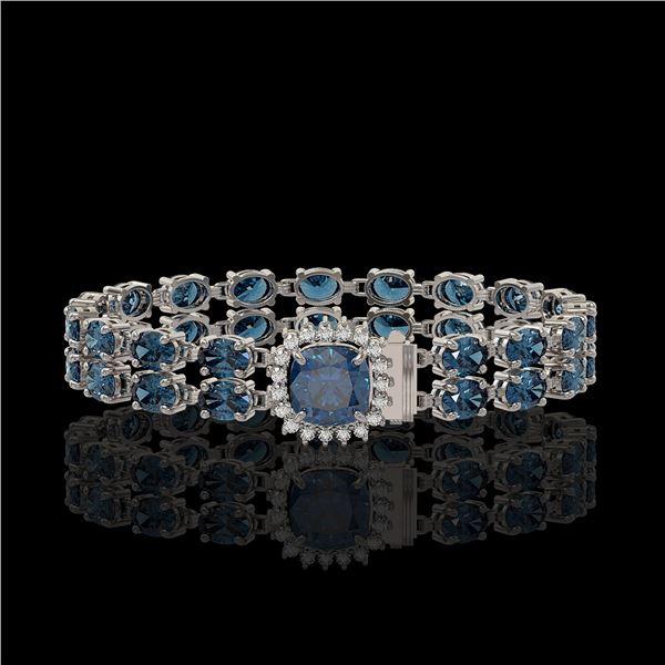 17.87 ctw London Topaz & Diamond Bracelet 14K White Gold - REF-178W2H