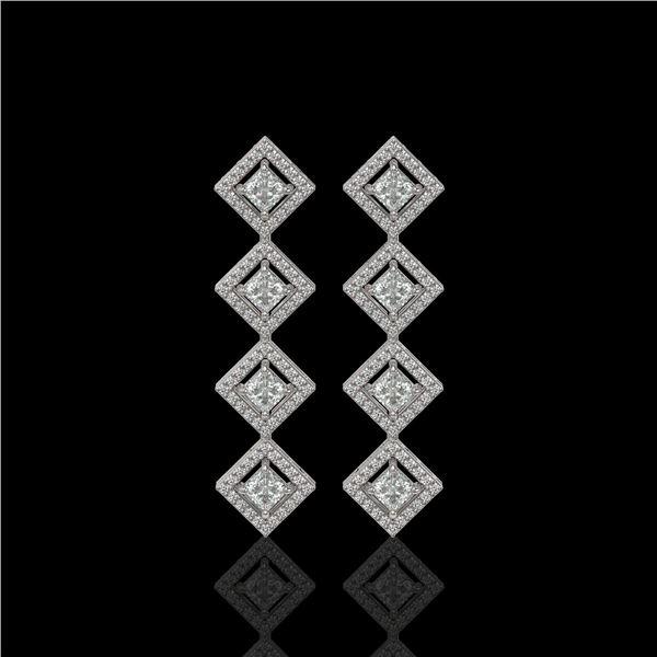 4.01 ctw Princess Cut Diamond Micro Pave Earrings 18K White Gold - REF-346Y3X