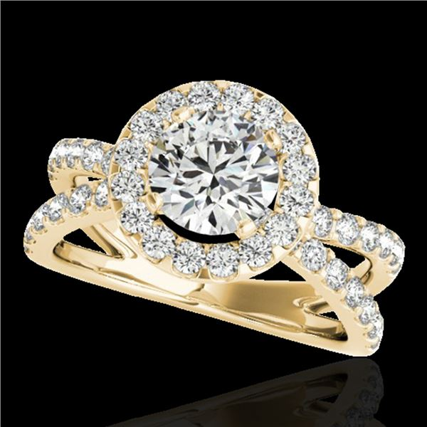 2.01 ctw Certified Diamond Solitaire Halo Ring 10k Yellow Gold - REF-231W8H