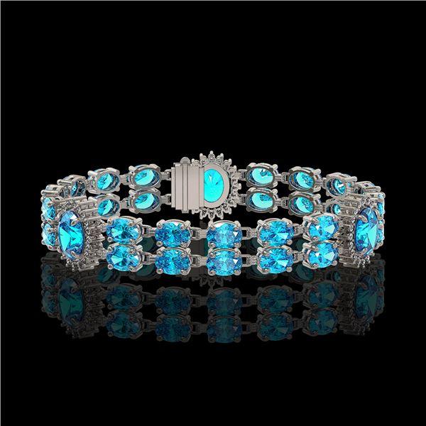 19.3 ctw Swiss Topaz & Diamond Bracelet 14K White Gold - REF-254Y5X