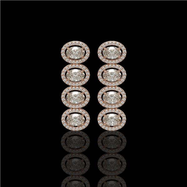 5.33 ctw Oval Cut Diamond Micro Pave Earrings 18K Rose Gold - REF-736X8A