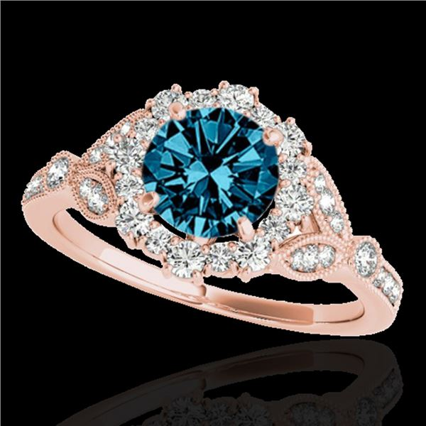 1.5 ctw SI Certified Fancy Blue Diamond Solitaire Halo Ring 10k Rose Gold - REF-130M9G