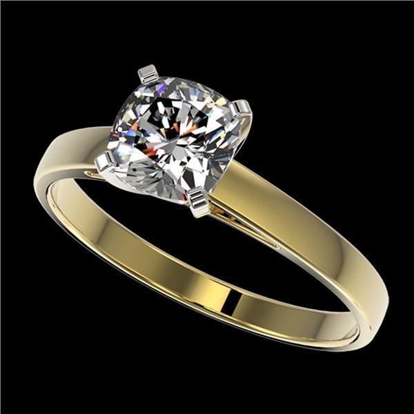 1 ctw Certified VS/SI Quality Cushion Cut Diamond Ring 10k Yellow Gold - REF-243N2F