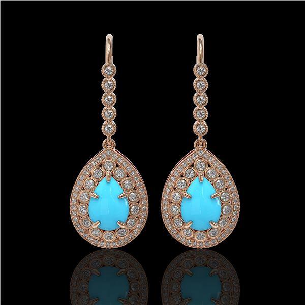 7.95 ctw Turquoise & Diamond Victorian Earrings 14K Rose Gold - REF-241R5K