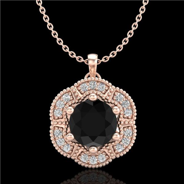 1.01 ctw Fancy Black Diamond Art Deco Stud Necklace 18k Rose Gold - REF-80A2N