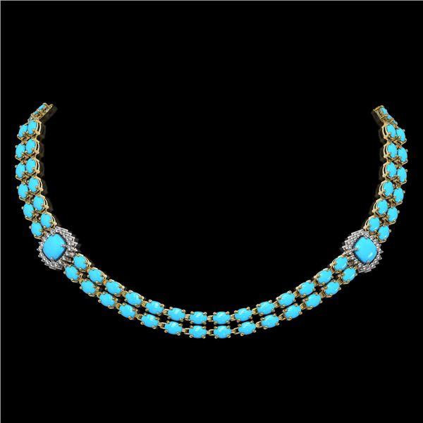 29.85 ctw Turquoise & Diamond Necklace 14K Yellow Gold - REF-527F3M