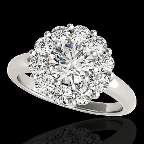 2.85 ctw Certified Diamond Solitaire Halo Ring 10k White Gold - REF-395W5H