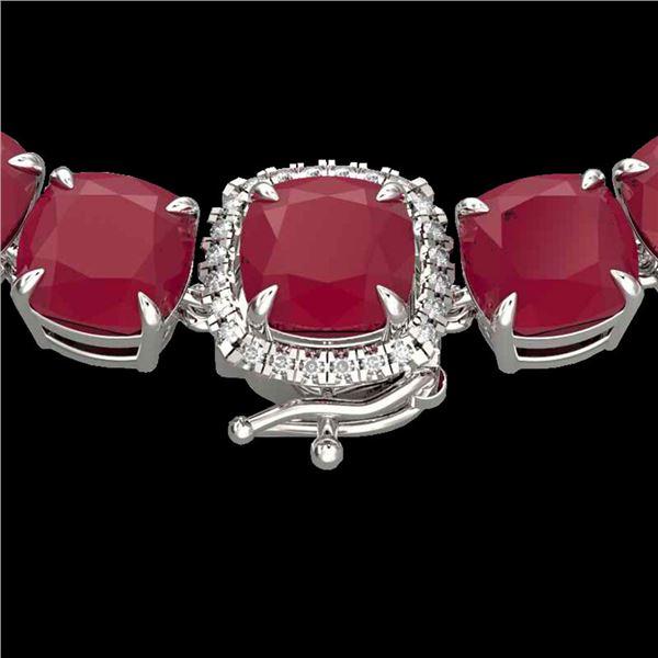 116 ctw Ruby & Diamond Micro Eternity Necklace 14k White Gold - REF-581X8A
