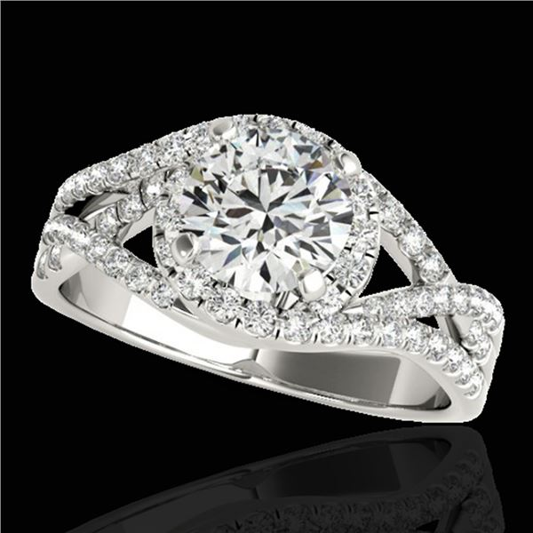 1.5 ctw Certified Diamond Solitaire Halo Ring 10k White Gold - REF-197Y8X