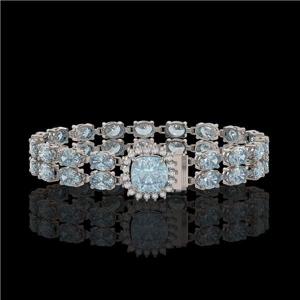 14.93 ctw Aquamarine & Diamond Bracelet 14K White Gold - REF-245N5F