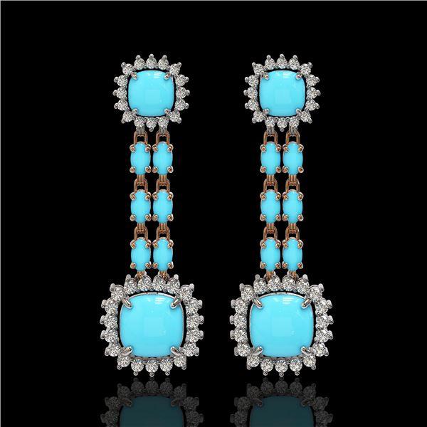 16.04 ctw Turquoise & Diamond Earrings 14K Rose Gold - REF-225W3H
