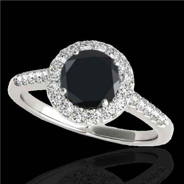 2 ctw Certified VS Black Diamond Solitaire Halo Ring 10k White Gold - REF-75M2G