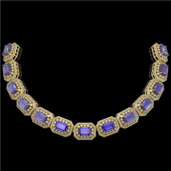 112.65 ctw Tanzanite & Diamond Victorian Necklace 14K Yellow Gold - REF-5818W2H
