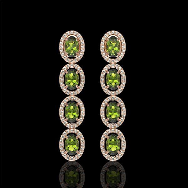5.88 ctw Tourmaline & Diamond Micro Pave Halo Earrings 10k Rose Gold - REF-143Y6X