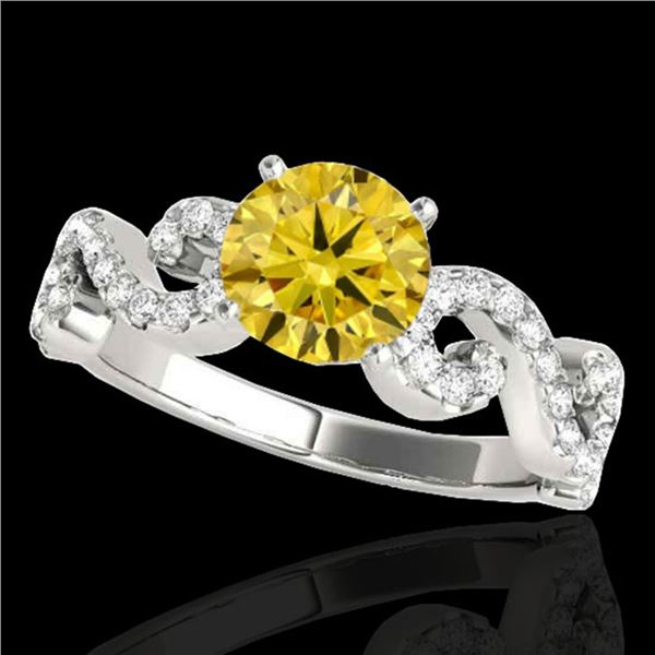 1.4 ctw Certified SI/I Fancy Intense Yellow Diamond Ring 10k White Gold - REF-190N9F