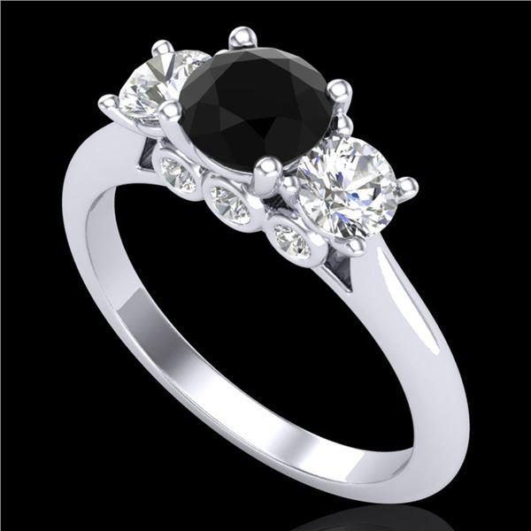 1.5 ctw Fancy Black Diamond Art Deco 3 Stone Ring 18k White Gold - REF-136W4H