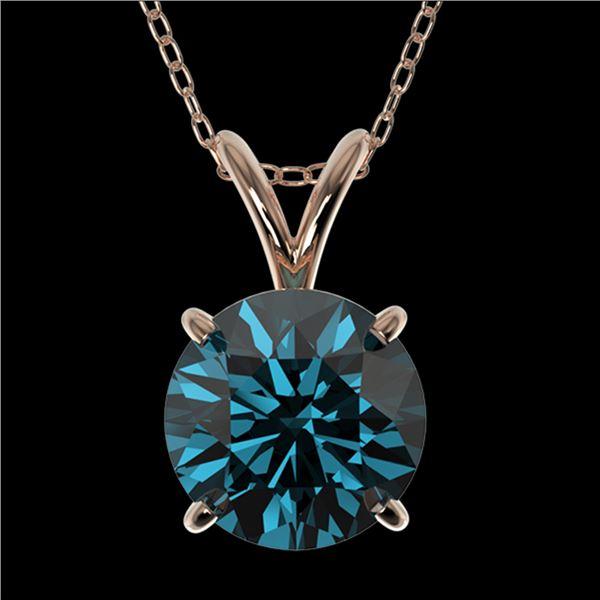 1.50 ctw Certified Intense Blue Diamond Necklace 10k Rose Gold - REF-153W4H