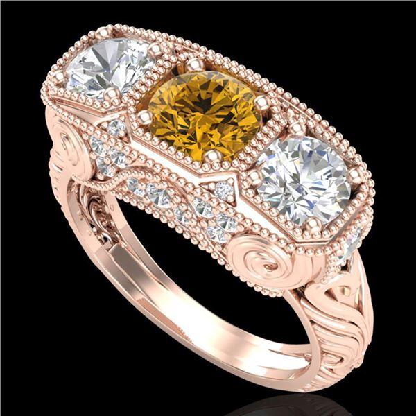 2.51 ctw Intense Fancy Yellow Diamond Art Deco Ring 18k Rose Gold - REF-345H5R