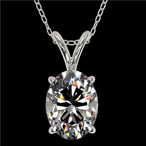 1.25 ctw Certified VS/SI Quality Oval Diamond Necklace 10k White Gold - REF-325H2R
