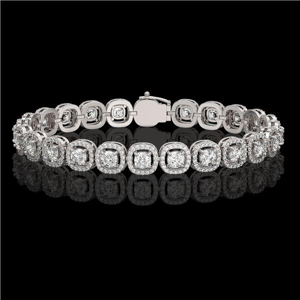8.83 ctw Cushion Cut Diamond Micro Pave Bracelet 18K White Gold - REF-770Y8X