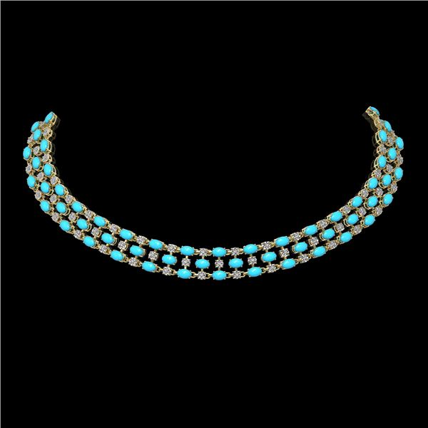 28.79 ctw Turquoise & Diamond Necklace 10K Yellow Gold - REF-427X3A