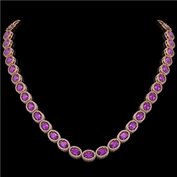 29.38 ctw Amethyst & Diamond Micro Pave Halo Necklace 10k Rose Gold - REF-600N2F