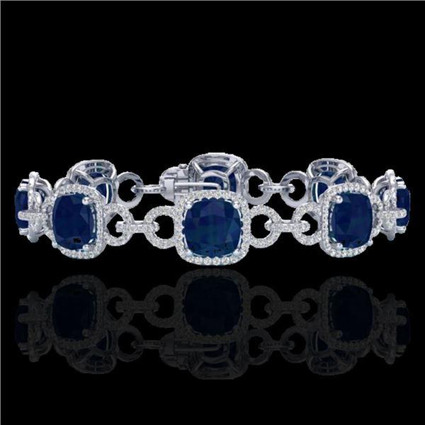 25 ctw Sapphire & Micro VS/SI Diamond Bracelet 14k White Gold - REF-418K2Y